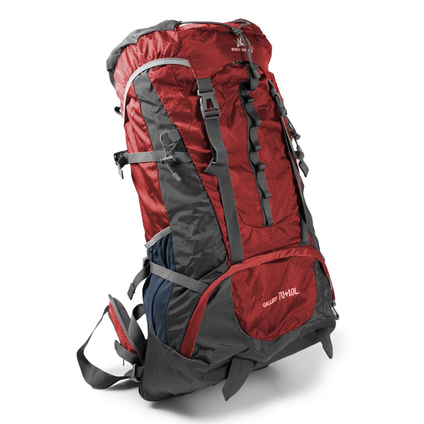 Trekking Rucksack 80L Volumen rot-grau